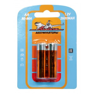 Батарейки AA HR6 аккумулятор Ni-Mh 2600 mAh 2шт. AIRLINE