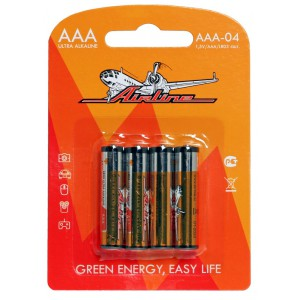 Батарейки LR03/AAA щелочные 4 шт. AIRLINE
