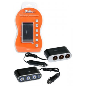 Прикуриватель-разветвитель 3 гнезда 5А + USB 1A, с выключателями нагрузки AIRLINE
