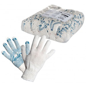Перчатки ХБ с ПВХ покрытием, белые, (1 пара), 42гр., 150Т/7,5 класс AIRLINE