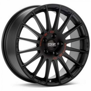 Диск 8x17 5x120 ET40 D72.6 OZ Superturismo GT Matt Black + Red Lettering